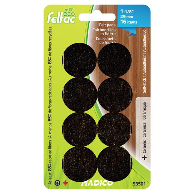 "Self-Adhesive Felt Pads - Eco - Round - Black -1 1/8"" -16/Pk"