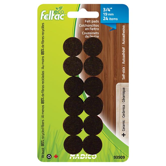 "Self-Adhesive Felt Pads - Eco - Round - Black - 3/4"" - 24/Pk"