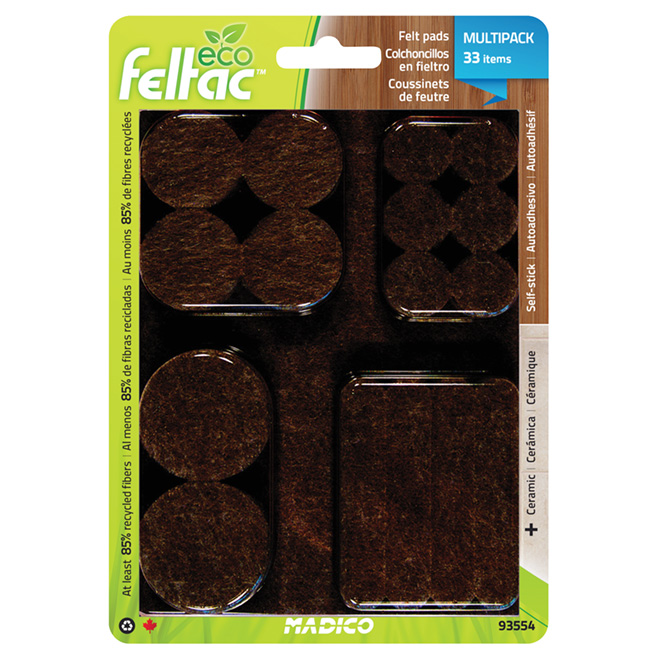 Self-Adhesive Felt Pad Multipack - Eco - Black - 33/Pk