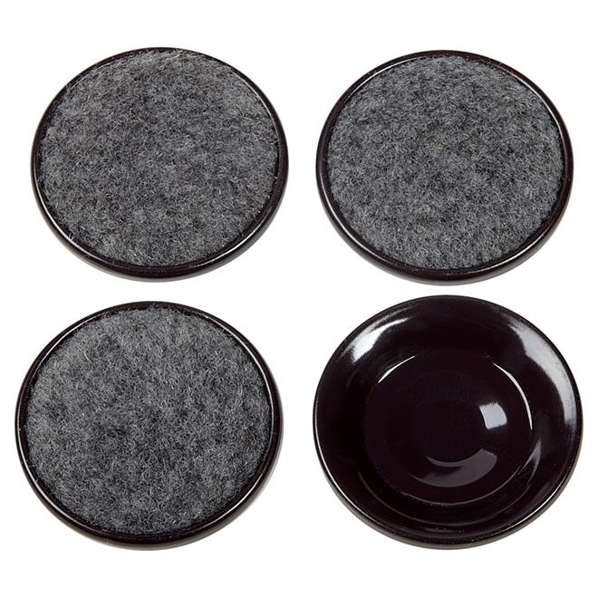 """Carpet-Base Metal Shell Leg Cups - Round - 2 1/2"""" - 4/Pk"""