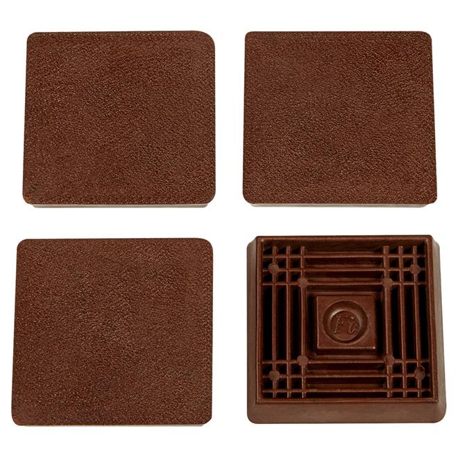 "PVC Smooth-Base Leg Cups - Square - 2 1/2"" - 4/Pk"