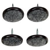"""Patins à clouer avec base en tapis, gris, 1 1/4"""", 4/pq"""