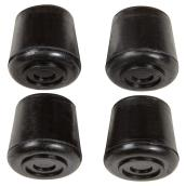 Rubber Leg Tips - Round - Black - 7/8
