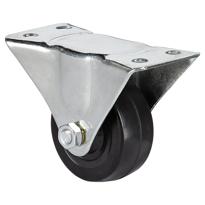 General-Duty Rubber Plate Caster - 176 lbs Capacity - 2 1/2""