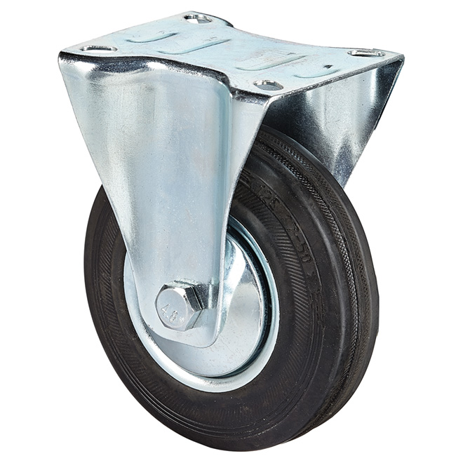 Euro Series Rubber Plate Rigid Caster - 220 lbs Capacity -5""