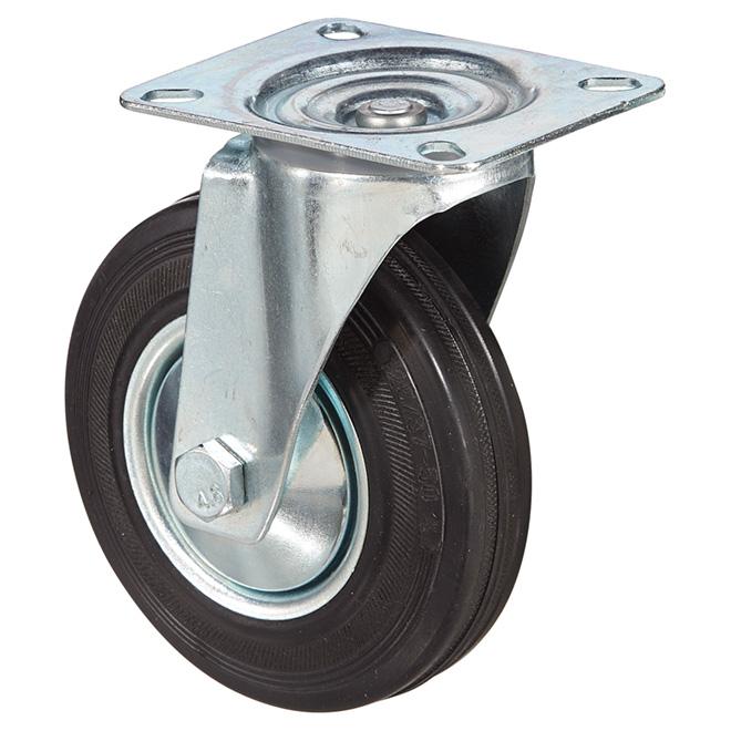 "Euro Series Rubber Plate Swivel Caster - 220 lbs Cap. - 5"""