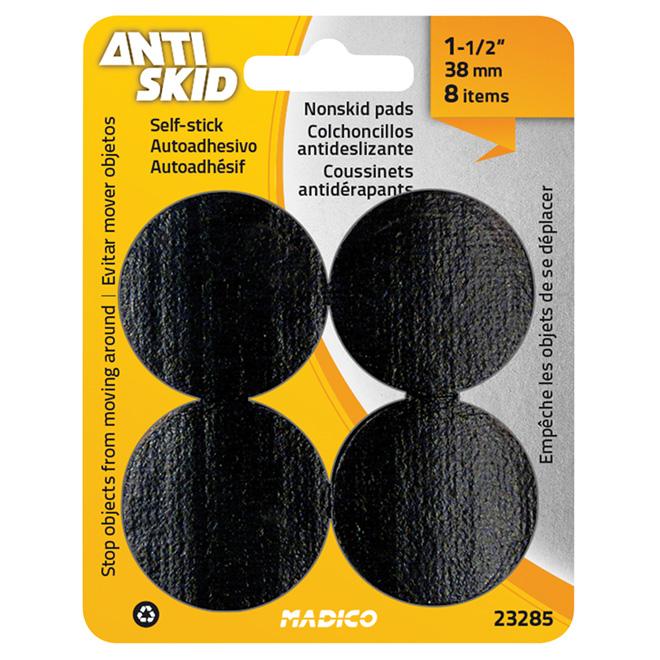 """Non-Skid Gripper Pads - Round - Black - 1 1/2"""" - 8/Pk"""