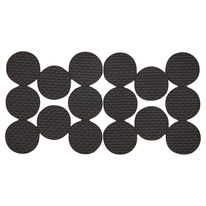 """Non-Skid Gripper Pads - Round - Black - 1"""" - 16/Pk"""