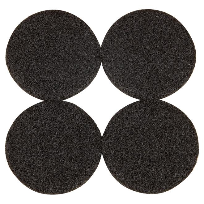 """Coussinets autoadhésifs Eco, ronds, noirs, 1 7/8"""", 4/pq"""