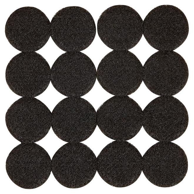 """Coussinets autoadhésifs Eco, ronds, noirs, 1"""", 16/pq"""