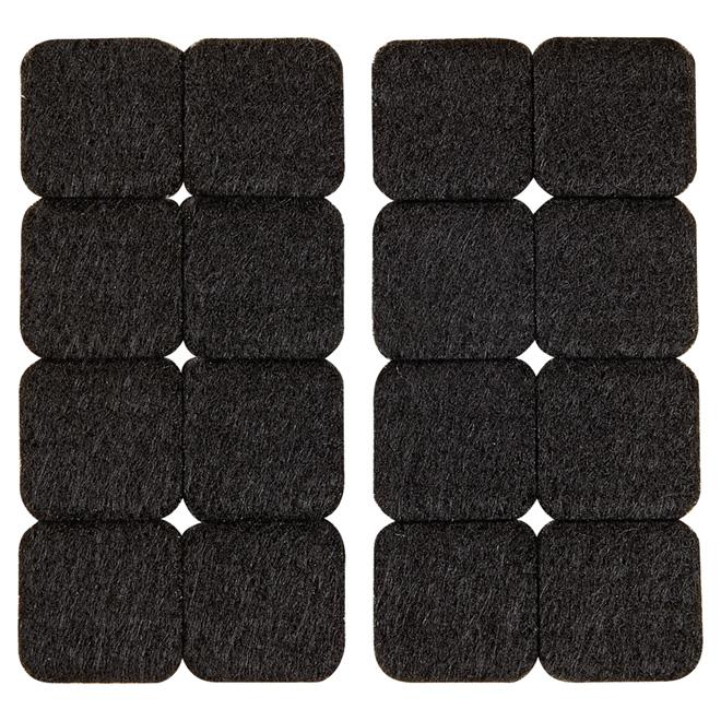 "Self-Adhesive Felt Pads - Eco - Square - Black - 1"" - 16/Pk"