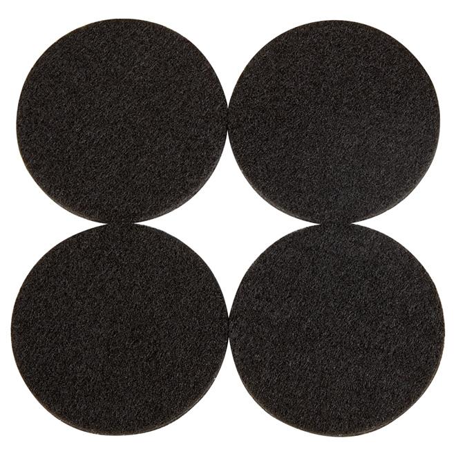 """Coussinets autoadhésifs Eco, ronds, noirs, 2 1/4"""", 4/pq"""