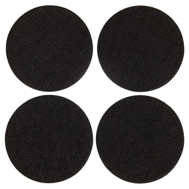 "Self-Adhesive Felt Pads - Eco - Round - Black - 4"" - 4/Pk"