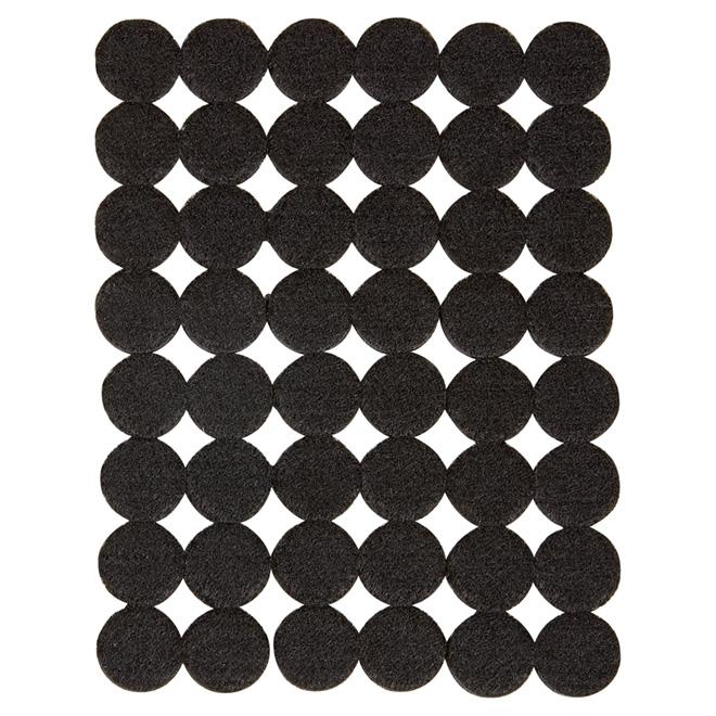 """Coussinets autoadhésifs Eco, ronds, noirs, 1"""", 48/pq"""