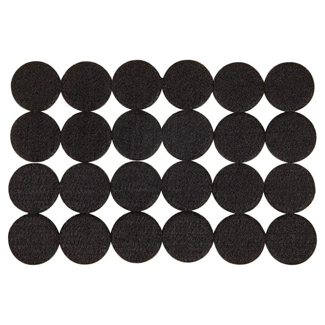 """Coussinets autoadhésifs Eco, ronds, noirs, 1 1/2"""", 24/pq"""