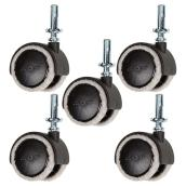 "Dual-Wheel Felt Wood Stem Casters - 66 lbs Cap. - 2"" - 5/Pk"