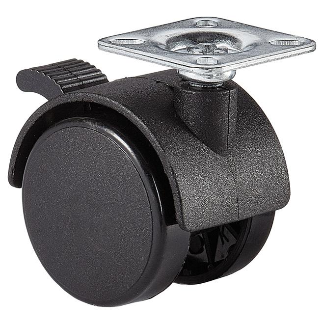 "Dual-Wheel Plate Caster - 55 lbs Capacity - Brake - 1  5/8"""