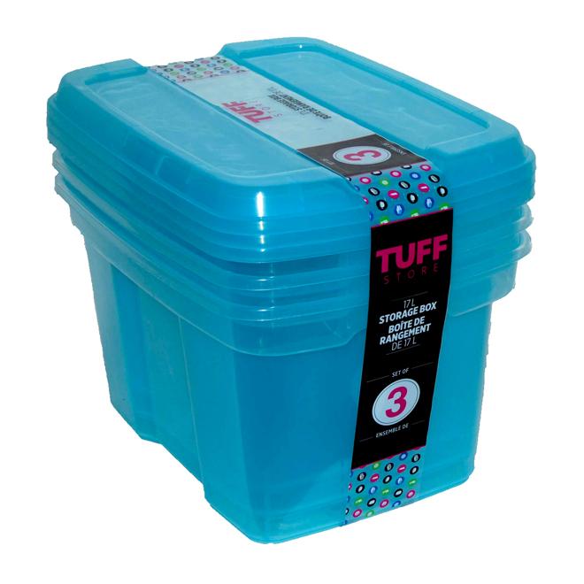 Boîtes de rangement en plastique 17 l, bleu, paquet de 3