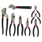 Set of Pliers and Wrench - Black and Red - 8PC