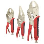 "Set of 3 locking pliers - 5 to 9"" - Red and Black"