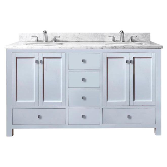 Meuble lavabo double « Malaga », blanc mat