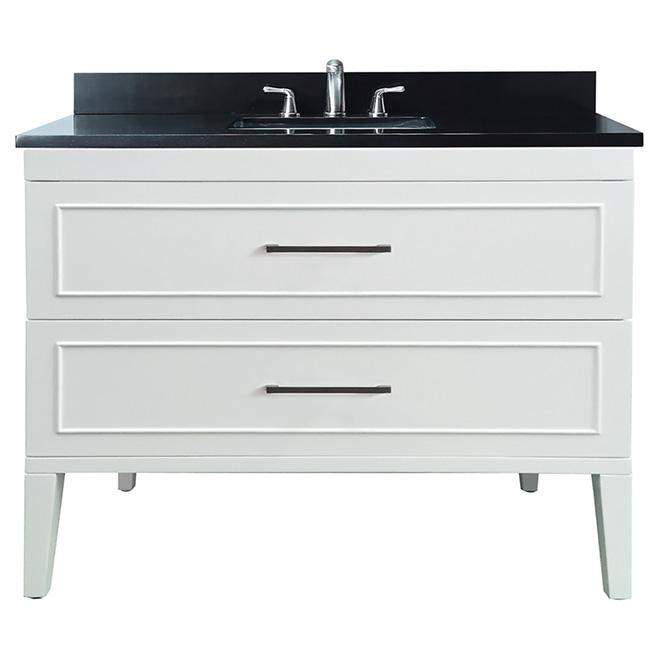 Meuble-lavabo, bois/marbre/porcelaine, blanc crème