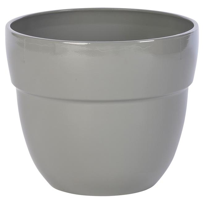 Pot à fleurs en résine « Augustine », 13'', gris