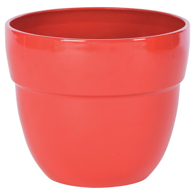 Pot à fleurs en résine « Augustine », 13'', vermillon