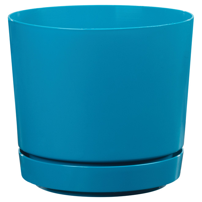 "High-Gloss Planter Pot - ""Dynamic Design"" - 8"" - Teal"