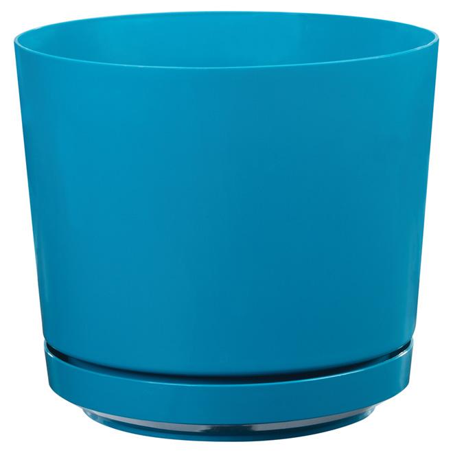 "High-Gloss Planter Pot - ""Dynamic Design"" - 10"" - Teal"