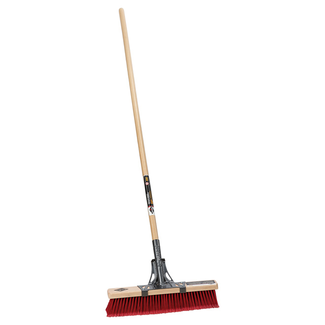 "Multisurface Push Broom  - 18"" - Wooden Handle"