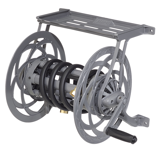 Wall-Mounted Hose Reel - 125' Capacity - Grey