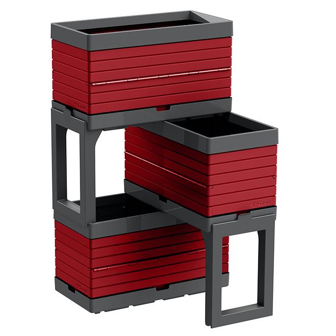 Jardin modulaire à 3 bacs, rouge