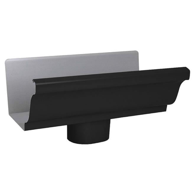 "Gutter End with Drop - K-STYLE - Aluminum - 5"" - Black"