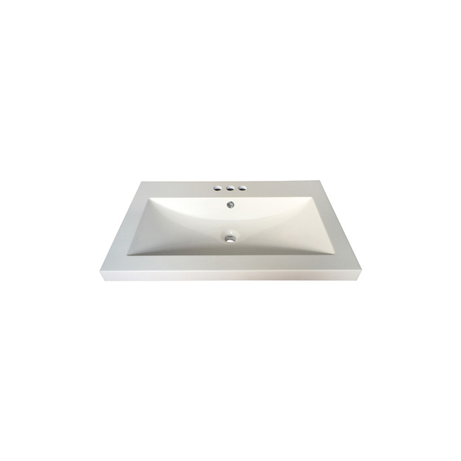 """Andrea"" Drop-In Lavatory - 30.25"" x 19"" - White"