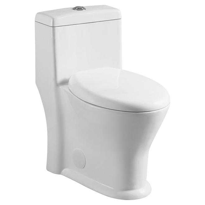 Toilette 1 pièce à cuve ronde, 4 l/6 l, blanc