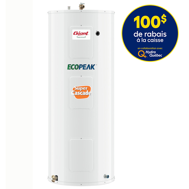 giant electric water heater - super cascade - 60 gallons - ecopeak  172eps-3f8m | rona