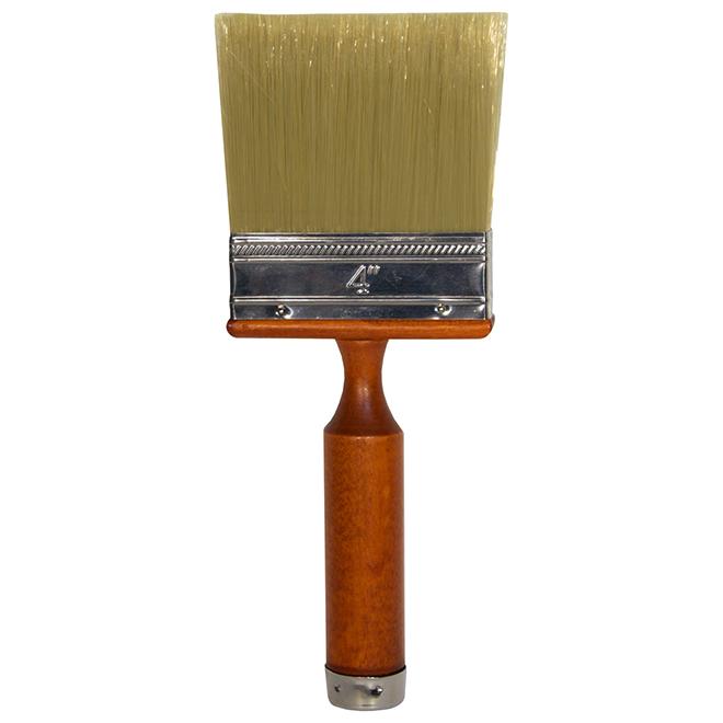 "Stain Brush - 4"" - Silk Bristles - Extra Wide - Brown"