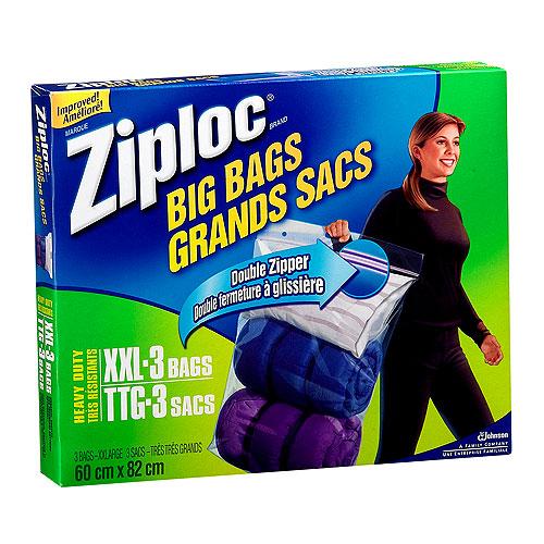 ziploc paquet de 3 tr s tr s grands sacs de plastique transparent 56755 rona. Black Bedroom Furniture Sets. Home Design Ideas