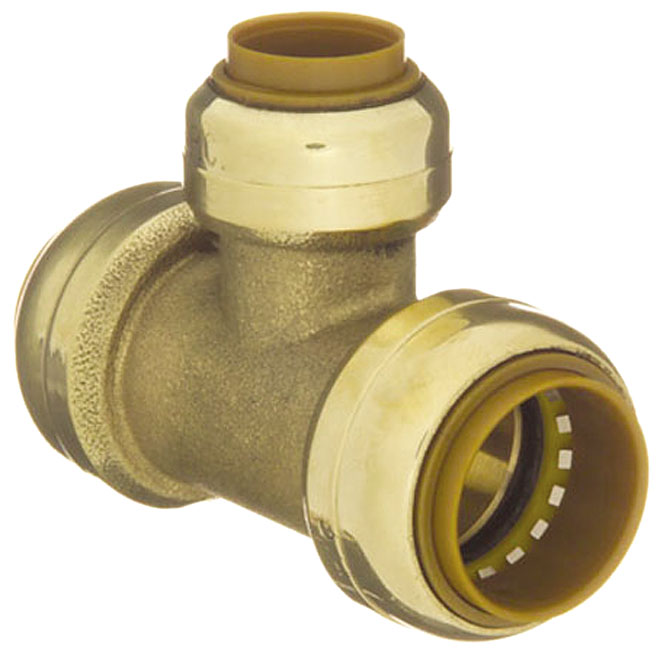 "T-Fitting - Lead-Free Brass - 3/4"" x 3/4"" x 1/2"" - Push"