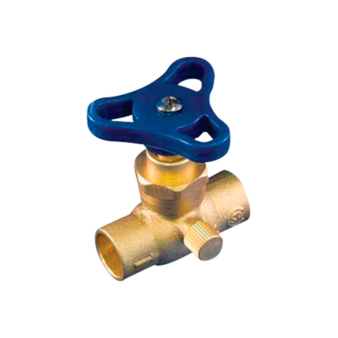 "Solder Stop Valve with Drain - Lead Free - 1/2"" - Brass"