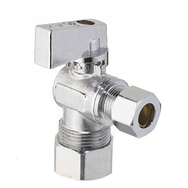 "Angled Stop Valve - Compression - 5/8"" x 3/8"" - Chrome"