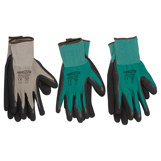 Gloves - Polyester and Latex Foam - 3 Pairs