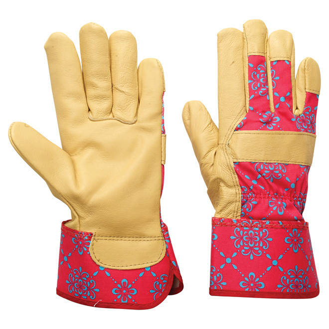 Gardening Gloves for Women - Leather - Large - Pink