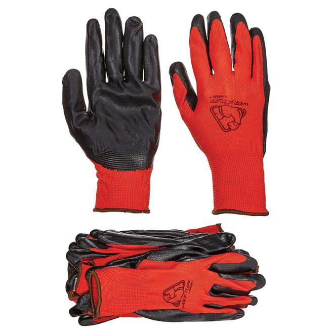 Gants en polyester et nitrile, paquet de 10 paires, rouges