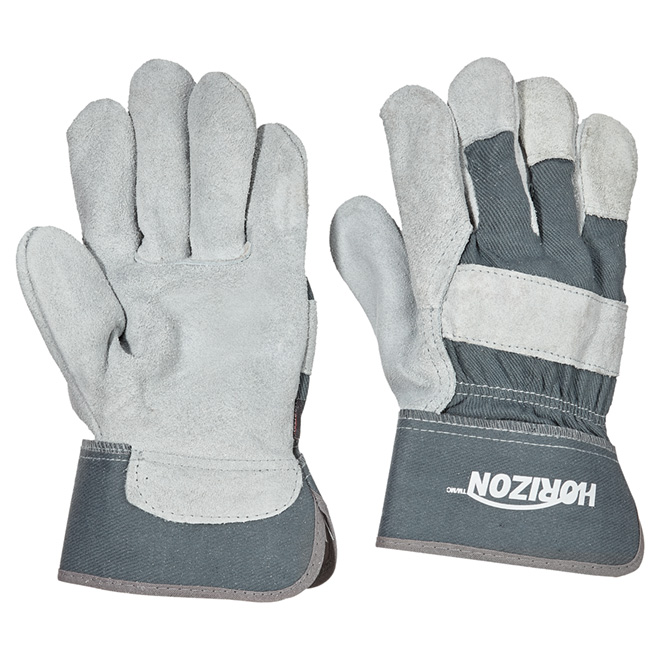 Men's Cow Split Leather Work Gloves - Grey - L