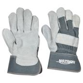 Men's Cow Split Leather Work Gloves - Grey - L