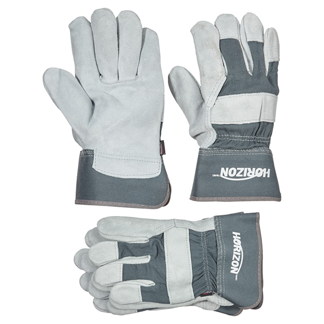 Men's Cow Split Leather Work Gloves - Grey - L - 3 Pairs