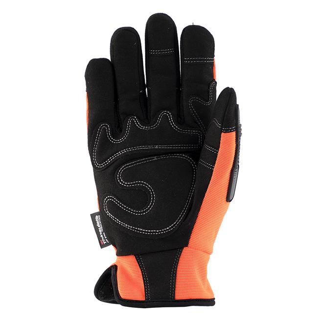 Hi-Visibility Mechanic Insulated Gloves - Orange/Black - M-L