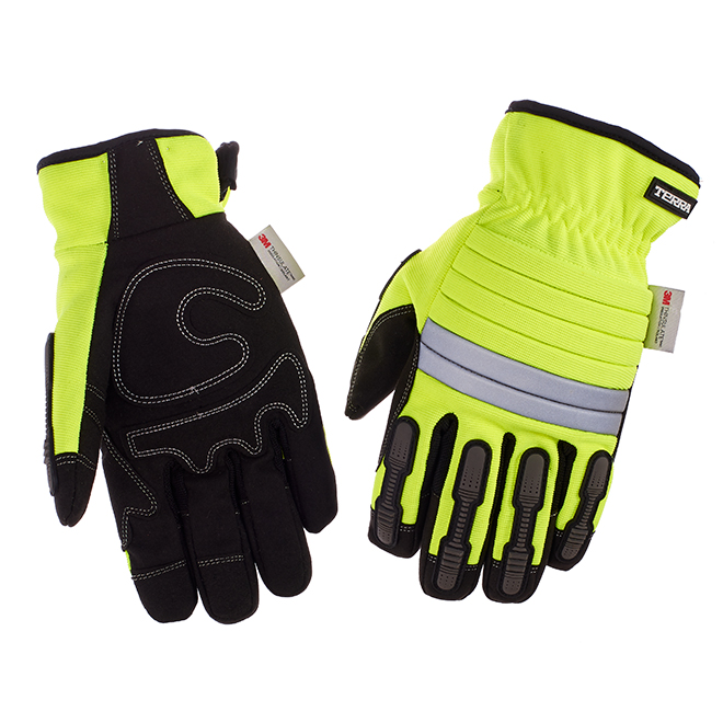 Hi-Visibility Mechanic Insulated Gloves - Yellow/Black - M-L